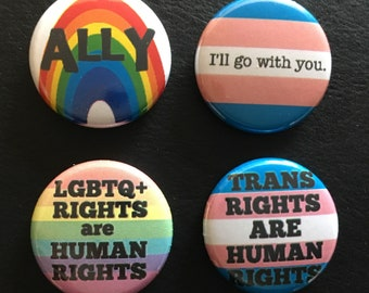 "LGBTQ ally set 1"" buttons"
