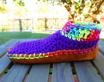 Moccasins, Leather Moccasins, Choose Cotton OR Lambswool Blend Uppers, Suede Bottoms, Moccasin Boots, Bohemian Moccasins, Funky Moccasins