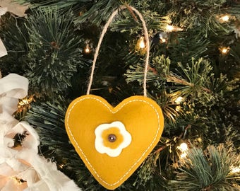 Gold Floral Wool Felt Heart Ornament