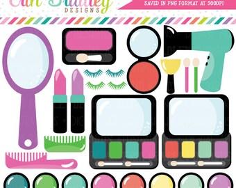 Makeup Clipart Beauty Graphics Mirror Lipstick Eyeshadow Hairdryer Blush Eyelashes Girls Clip Art Instant Download