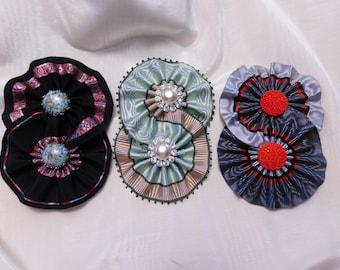 Rosace double Cocardes Vintage verre boutons chapellerie Appliques