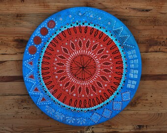 Handpainted Bespoke - Scandinavian Patterned/Symmetrical - Blue/Red - Porcelain Plate - Any Occasion - Dinner - Tea, Coffee and Cake - Hygee