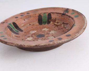 Vintage Old Ceramic Redware Pottery Bowl Cup.