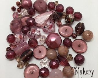 Dark pink bead mix, 60 beads, glass, resin, ceramic, plastic