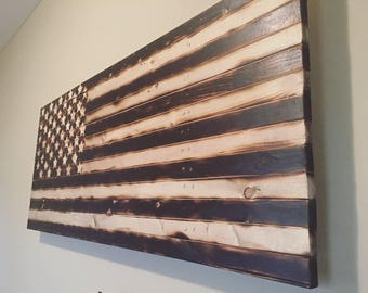 Rustic American Flag - Burned Wood