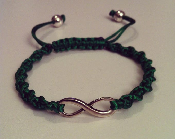 Green sign adjustable spiral Shamballa bracelet infinity