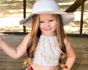 Idyllwilde Collection, Lace Halter Crop Top, Girls Crop Top, Lace Top, Baby Halter Top, Boho Baby Top, Coachella Top, Toddler Fashion
