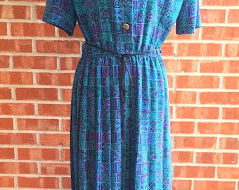 Vintage 80s Leslie Fay teal, blue, and purple pattern dress. Size 10