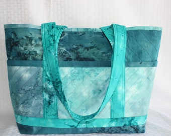 Batik Swirls of Blue/Aqua Handmade Quilted Tote Bag