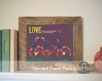 Love Bicycle - Reclaimed Barnwood Framed Print - Ready to Hang - Sizes at Dropdown