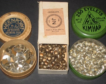 1 Tin and 2 Boxes of Vintage and Antique Stationers Supplies -Frank A Weeks, Keenpoint and Kimhar - Eyelets and Tacks