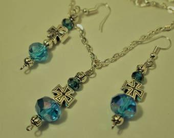 Aquamarine and Rhinestone Earrings and Necklace Set