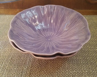 """Vintage Metlox Poppytrail Lotus in Lilac- Coupe Cereal Bowls  - 6 3/4"""" Diameter - Lotus Lilac - Produced 1979-86 - Set of 2 Coupe Bowls"""