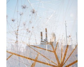 oil field (sacred ground): surreal photography. nature photography. multiple exposure photo. fine art photography. industrial decor sky blue