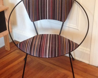 Vintage Atomic Age Round Metal Chair with Paul Smith Fabric