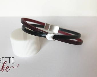 Leather Bracelet black and Burgundy with silver arrow jewelry