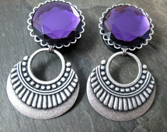 "Tribal Dangle Plugs - 7/8"" 22mm - 1"" 25mm Gauges - Gothic Jewelry - Wedding Gauges - Plug Earrings"