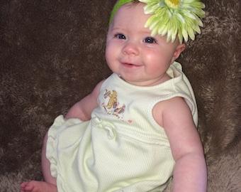 Green Flower on Lime Green Headband