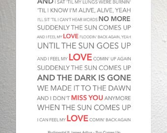 I wanna stay with you until were grey and old james rudimental ft james arthur sun comes up funky lyric art print a4 size stopboris Choice Image