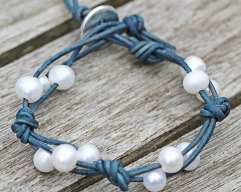 Knotted Pearl Leather Bracelet Birthday gift Boho