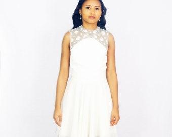 Cream Embellished Skater Evening Dress