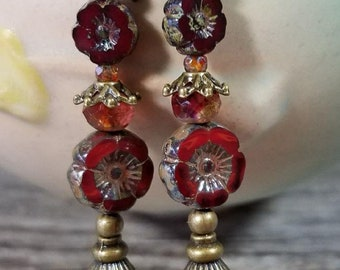Red Czech Glass Flower and Antique Brass Earrings
