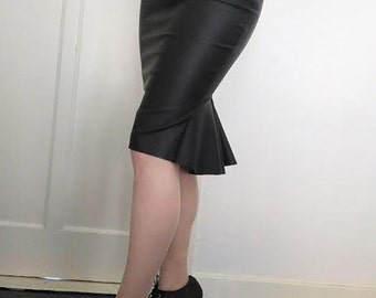 High waisted, black leather fishtail skirt, Retro Chic, Wiggle Skirt, Vegan Leather, sizes Xs-XL or custom made to your size.