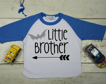 Little Brother Shirt - Baby Announcement - Sibling Shirt - Bat - Family Pictures - Raglan/Baseball Tee - New Baby Announcement - Sibling Tee