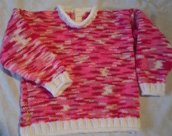 Hand Knitted Toddler Girl's Sweater / Jumper