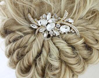 Bridal Hair Comb, Gold Wedding Hair Piece, Gold Bridal Hair Clip, Gold Headpiece, Gold Bridal Comb, Gold Rhinestone Hair Pin
