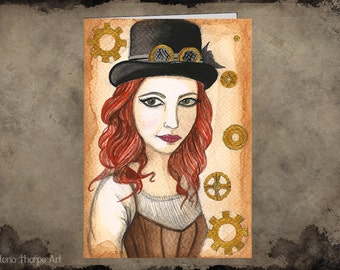 Greeting Card - Steampunk Blank Fantasy Art Top Hat Goggles Cogs Tea Lady Illustration Victorian Red Hair Corset Pretty Beauty Brown Gold