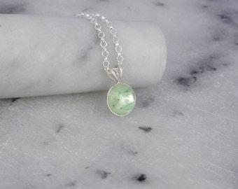 Sterling Silver Necklace- Green Aventurine Necklace- Green Aventurine Resin Pendant- Green Gemstone Jewellery- Resin Jewelry- Sale- N113