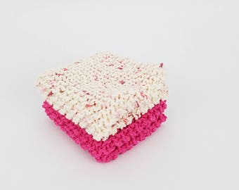 Pink and Cream Washcloths Hand Knit Cotton Dishcloths