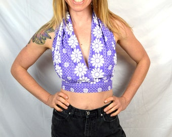 Vintage 70s Purple Floral Summer Cropped Halter Top