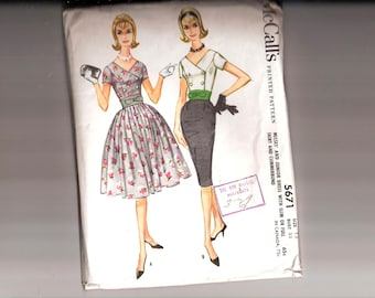 Vintage 60's Dress Pattern - McCalls 5671vMisses' Double Breasted Dress in Two Variations - SZ 13