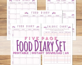 Printable A4 Food Diary Set - 5 Pages, 4 Versions - Diet Tracker - Includes Calorie Reference Chart - Instant Download PDF