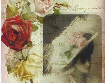 Victorian lady french roses collage*Quilt Art Fabric Block,ONE 5x7 fabric block*Exclusive