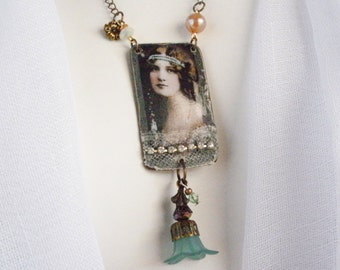 GABRIELLA Vintage Collage Upcycled Necklace, Repurposed Necklace, Collage Necklace, Shabby Chic