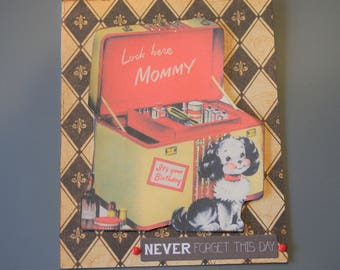 Puppy Birthday Card for Mommy - Vintage Inspired