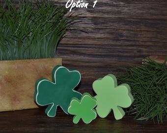 St. Patrick's Day Block Set Shamrock Four Leaf Clover Set Irish Home Decor Celtic Decorations Shamrock Block Set Irish Wedding Decor