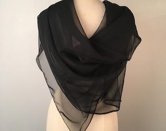 oversize black sheer chiffon scarf 55 x 45 inch wrap shawl women