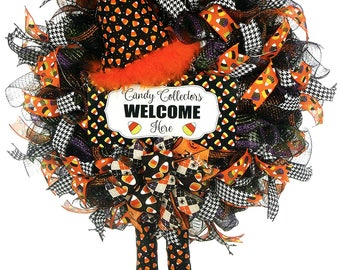 Candy Corn Witch - Candy Corn Decor - Candy Corn Wreath - Halloween Candy Corn - Halloween Witch - Halloween Decor - Front Door Decor