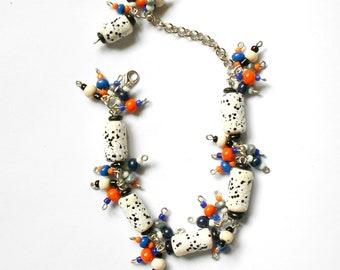 Beaded bracelet, Boho bracelet, Wrap bracelet, Handmade bracelet, Colorful bracelet, Polymer clay bracelet, Polymer clay jewelry