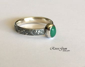 Australian Chrysoprase Ring, Sterling Silver Stacking Ring, Oxidized Ring, Size 8, Handmade by RiverGum Jewellery