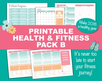 Fitness Tracker, Pack B, Health & Fitness, Weight Loss Planner, Printable PDF