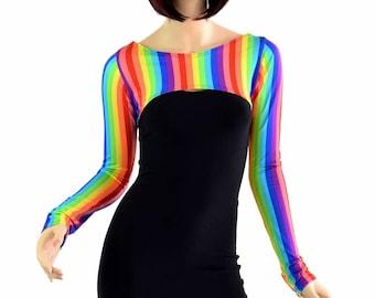 Rainbow Stripe Spandex Bolero Dance Sleeves Top Rave Festival EDM -151414
