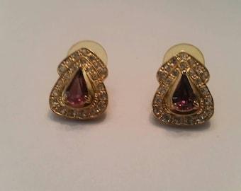 Vintage Roman Rhinestone Earrings Costume Jewelry