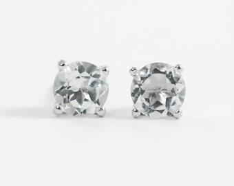 White topaz earrings Sterling silver white topaz studs 6mm clear gemstone solitaire earrings April birthstone
