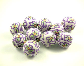 x 30 beads fimo flowers Purple 12 mm
