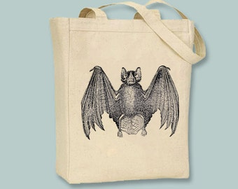 Awesome Vintage Bat with Wings Spread Vintage Illustration on Natural or Black Canvas Tote  - Selection of sizes available